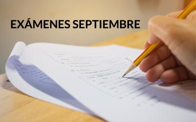 FECHAS EXÁMENES SEPTIEMBRE 2019
