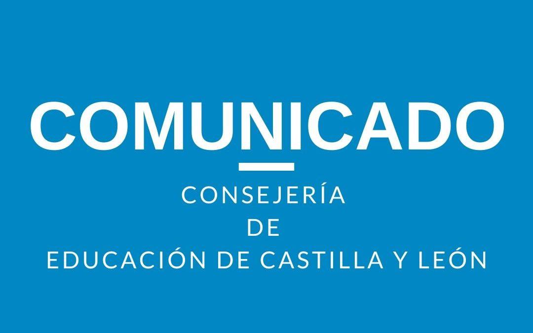 COMUNICADO Consejería de Educación de Castilla y León