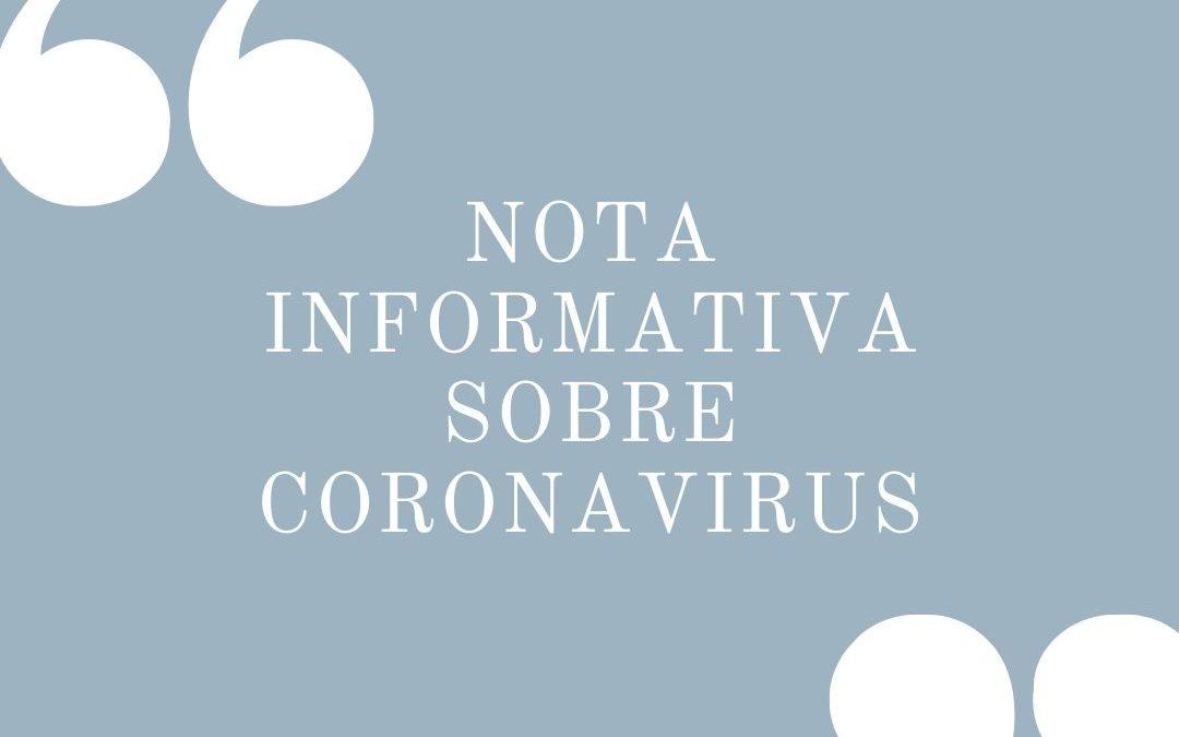 COMUNICADO SOBRE CORONAVIRUS